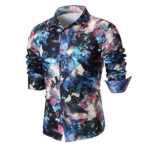 Hombre camisa manga larga Otoño,Sonnena ❤️ Camisa casual de verano de los hombres de la personalidad Camisa estampada de manga larga Blusa superior