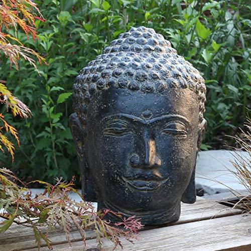Oriental Galerie Buddha Kopf Head Steinfigur Skulptur Stein Lavasand Bali Garten Deko 33cm