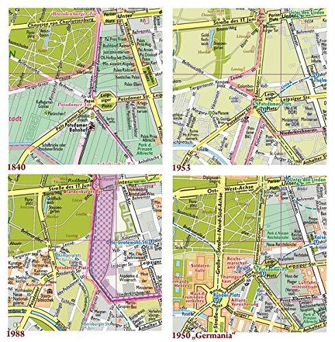 """Berlin, Vier Stadtpläne im Vergleich, Ergänzungspläne 1840, 1953, 1988, 1950""""Germania"""": Kartonmappe 23 x 17 cm mit 4 Karte je 49 x 33 cm, gefalzt"""
