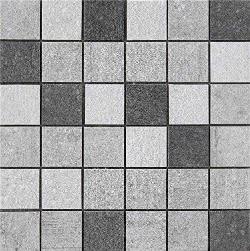 Muzzi MZ1220-S1 Mosaik, rustikales Porzellan, 30,5 x 30,5 cm 1 Sample White,Grey,Black -