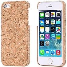 ECENCE Apple iPhone SE / 5 5S CORCHO FUNDA MADERA NATURAL HARD CASE CASO COVER CAJA marrón claro 13020502