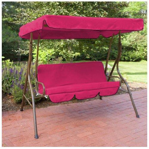 Wasserabweisendes 3er Ersatz Baldachin &Seat Pad Nur für Hollywoodschaukel / Gartenschaukel, Cerise Pink