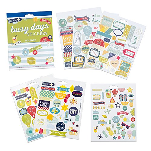 Boxclever Press Busy Days Planersticker, Scrapbook Sticker. 210 Kalender Sticker - Urlaub & Ferien. Farbenfoh illustrierte Goldfolie-, Vinyl- und gepolsterte Aufkleber für Planer & Bullet Journals (Urlaub Reise)