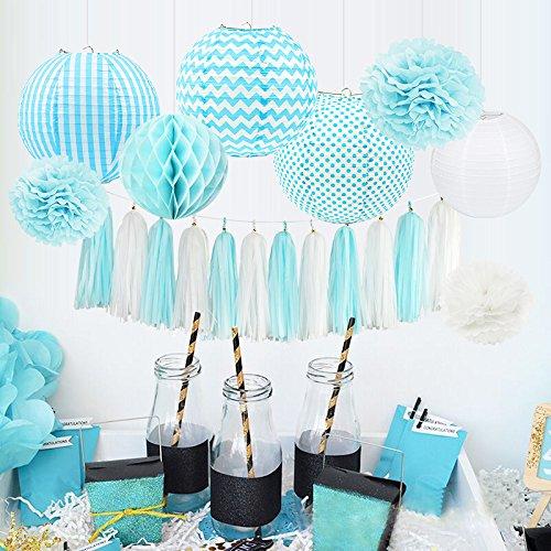 HappyField Baby Boy Baby Dusche Dekorationen Boy Birthday Party Dekorationen Tissue Pom Poms Papierlaternen Seidenpapier Quaste Tissue Wabenbälle Baby Blue Party Supplies (Chevron Tisch Decken)