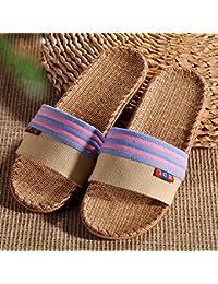 SUDOOK Sommer-Paar Schuhe Hausschuhe open-toe leicht atmungsaktiv Flachs-Slipper Sandalen marineblau US-8.5...
