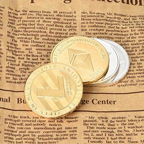 Dekoartikel Münzen,Jaminy 4X Vernickelt Gedenk Litecoin ETH Sammler Gold Eisen Miner MÜNze Geschenk - 3