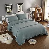 mixinni® Tagesdecke Bettüberwurf Baumwolle Einfarbige Decke Quilt Grün 2