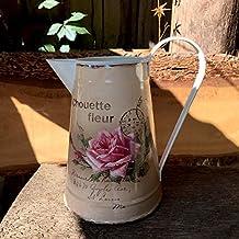 Antikas - lechera vintage con rosa - jarra regadera decorativa stilo vintage