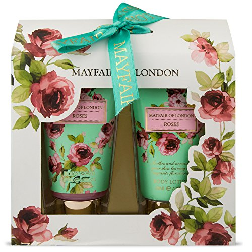 Mayfair Of London MLR2957 Set di Bagno Duo, Roses, 2 Pezzi, Verde