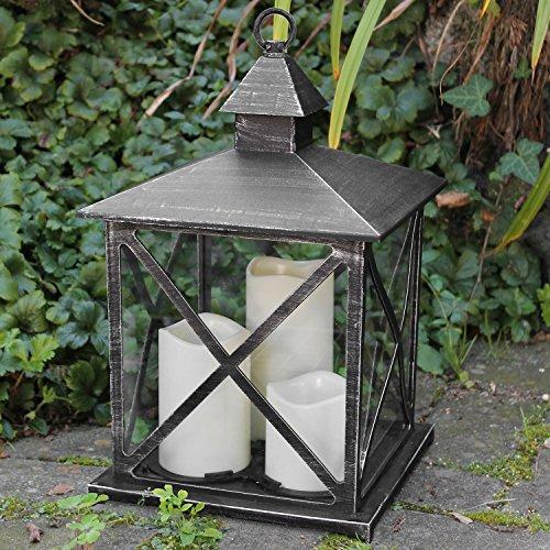 Multistore 2002 Laterne H38cm mit 3 LED Kerzen mit Flacker-Effekt und Timerfunktion Laterne Windlicht Gartenlaterne Kerzenhalter Gartenbeleuchtung Dekoration - Schwarz (Antik-Optik)