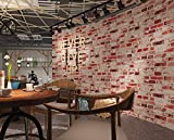 Moderne 3D-grau Brick Muster Tapete Antik Restaurant und Barstyle Backstein Tapete Wohnzimmer Schlafzimmer TV Retro Vlies Tapete 0,53 m (52,8 cm) * 10 Mio. (32,8 ') M = 5.3sqm (M³), Only the wallpaper, Vintage red brick