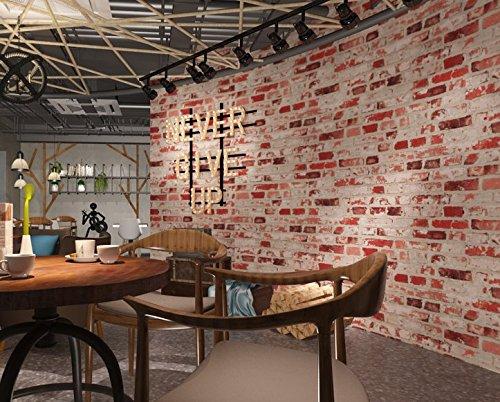 Moderne 3D-grau Brick Muster Tapete Antik Restaurant und Barstyle Backstein Tapete Wohnzimmer Schlafzimmer TV Retro Vlies Tapete 0,53m (52,8cm) * 10Mio. (32,8') M = 5.3sqm (M³), Only the wallpaper, Vintage red brick