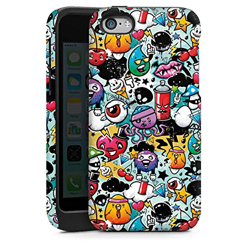 Apple iPhone 5s Housse étui coque protection Graffiti Style autocollant Monstre Cas Tough brillant