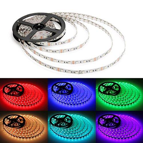 Set, 5 m bande LED 5050 RGB LED Strip Lights, bande LED avec télécommande 44 touches, contrôleur LED RVB avec bloc d'alimentation 12 V 5 A, tuyaux flexibles bande LED, lumière LED Guirlande lumineuse, LED multicolore Multicolore, de nombreuses fonctions [Classe énergétique A +]
