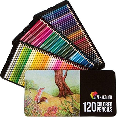 120 Crayons de Couleurs, Numérotés, avec Boîte Métal Zenacolor - Set de 120 Couleurs Uniques et Différentes - Rangement Facile...
