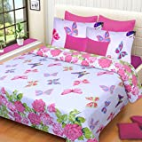 Home Elite 120 TC Cotton Double Bedsheet with 2 Pillow Covers - Floral, Multicolour
