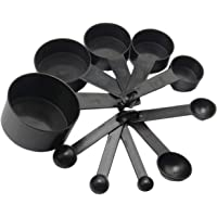 10Pcs Black Plastic Measuring Spoons Cups Set Tools for Baking Coffee Tea 1 4Sp  1 2Sp 1Tsp 1 2Tbsp  1Tbsp Black