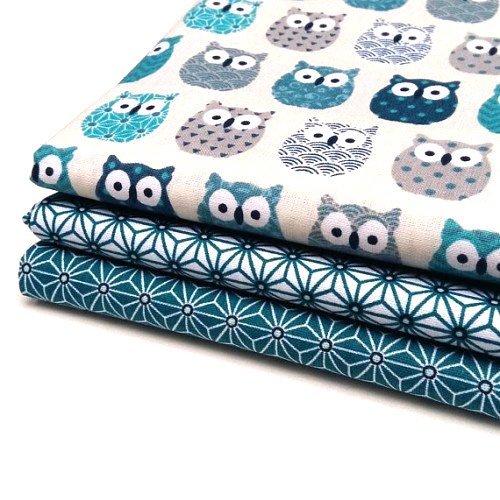 Nadege Tissus Lot 3 coupons tissu Hiboux bleu + saki étoile asanoha bleu canard/blanc et bleu canard - 50cm x 50cm