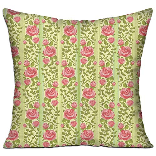 tgyew Floral Classical Pink Roses with Green Leaves On Vertical Borders Old Fashioned Design Decorative Green Coral Bedroom Decor Throw Pillow Cover 18