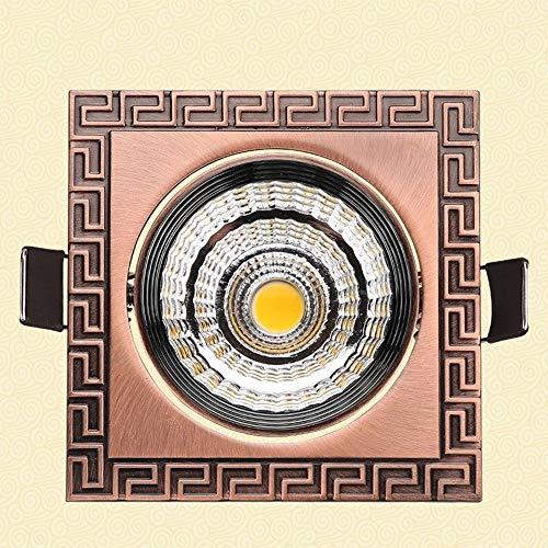 Verlight 3W 5W 7W europäischer Messingweinlese-einfacher LED Scheinwerfer vertiefte runde Downlights Art- und Weisekreative ultra dünne Platten-Decken-Innenwohnzimmer-Küche errichteten angebrachten de Red Square Platte
