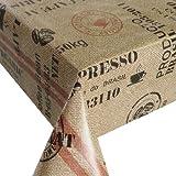 Wachstuch Breite 100 cm - Kaffeesack Rot Beige Größe 100 x 180 bzw. 180x100 cm abwaschbare Tischdecke von DecoHometextil