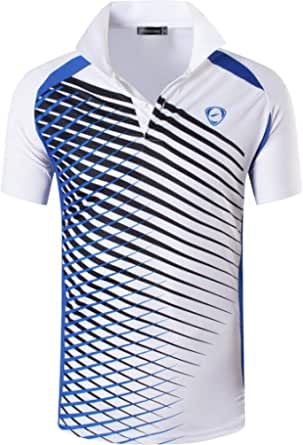 jeansian Men's Short Sleeve Quick Dry Polo T-Shirts Wicking Breathable Running Training Sports Tee Tops LSL195