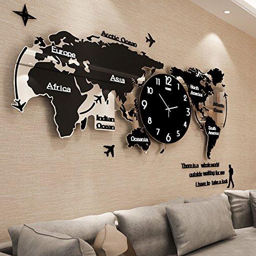 reloj de pared CivilWeaEU- Mapa Salón Moderno Minimalista Reloj Europeo Mudo Reloj Nórdico Decoración Personalizada Mesa Colgante (Color : Black Luminous, Tamaño : 74*34cm)