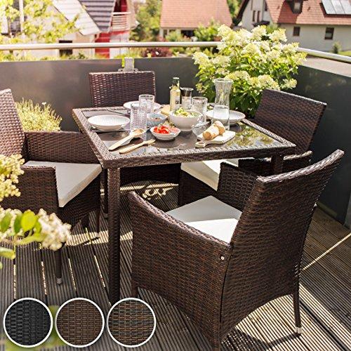 Tectake set di mobili da giardino poli rattan arredamento for Amazon tavoli