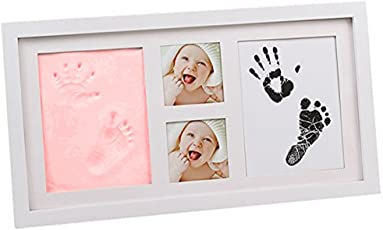 Babies Bloom Babies Bloom Baby Hand Footprint Picture Frame Kit with Safe Acrylic Glass, Red Clay