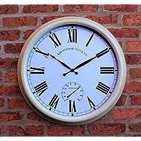 """Reloj de pared de metal Jardín Grande Termómetro 24""""61cm Color Crema 1044funciona con pilas"""