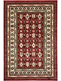 ASPECT Klassisch Teppich Perser Mashad bordeaban Traditionelle Rojo-Negro-beige/, Polypropylen, Red, Black and Beige, 120 x 170 cm