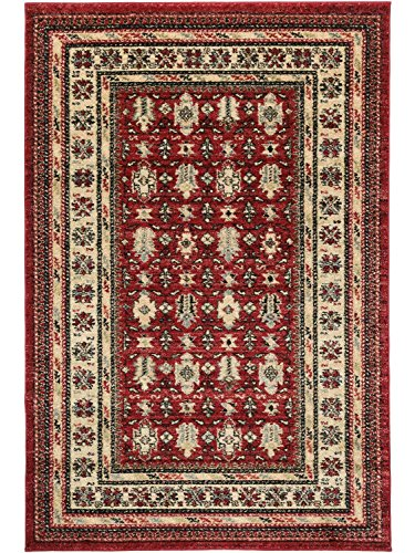 Alfombra persa clásico Mashad bordeaban tradicional rojo-negro-beige/, polipropileno, Red,Black and Beige, 120x170cm