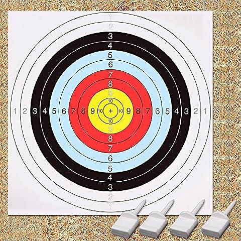 Archery Target, GEEKHOM 60 cm Bullseye Archery and Gun Targets, Shooting Targets Set(10 Papers Packs, 4 Pins)