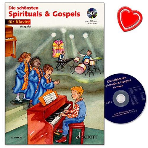 Die schönsten Spirituals and Gospels - Klavierstücke für Anfänger aus religiöse Musik der Afroamerikaner - Noten mit CD und bunter herzförmiger Notenklammer (Bunte Musik-noten)