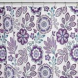 mDesign Duschvorhang mit Blumenmuster - ideales Badzubehör mit perfekten Maßen: 183 cm x 183 cm - langlebige Duschgardine - Farbe: blau / lila