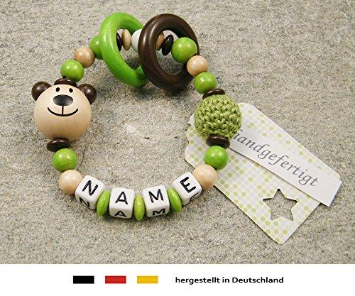 kleinerStorch Baby Greifling Beißring geschlossen mit Namen | individuelles Holz Lernspielzeug als Geschenk zur Geburt & Taufe | Mädchen & Jungen Motiv Bär in natur, grün