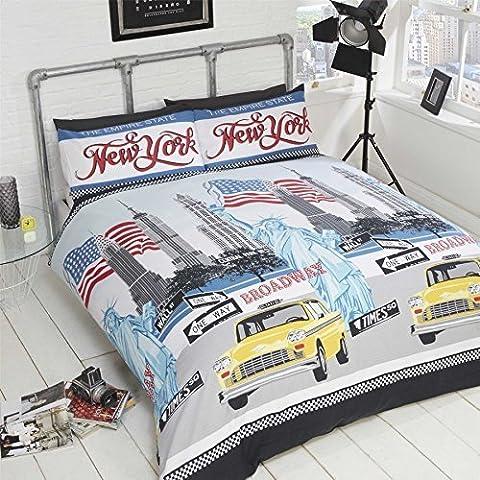 Parure de lit simple avec housse de couette en coton mélangé Motif New York/drapeau américain Bleu/rouge