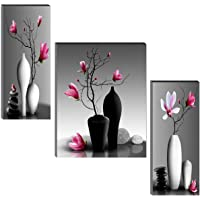 SAF Set of 3 Beautiful Flower Pot UV Textured Self adeshive wall painting for living room with mdf 18 Inch X 12 Inch…