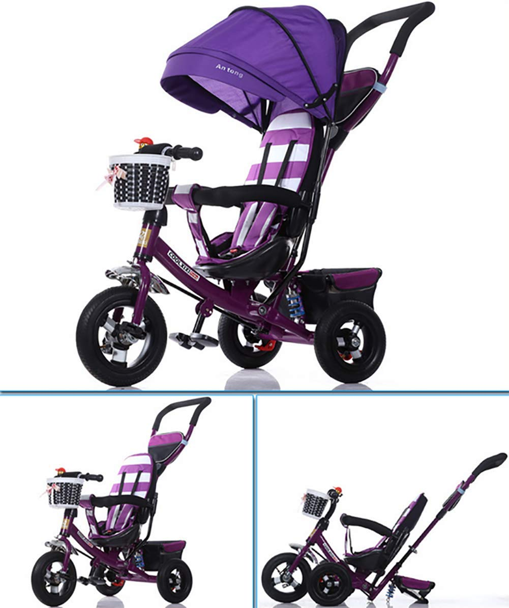 GHDE& 3-in-1 Childrens Tricycle Kids Trike for Children with Sun Canopy, Back Storage and Removable Parent Handle,B  3 IN 1 TRIKE: This is a growing with your child innovative kid trike, it follows with your baby's growing up and can be a baby bike, baby walker, or trike with parent pushing rod and canopy. Very Practical: Built with the sturdy aluminum alloy frame in superior strength, Non-slip handle with bell for best touch and added fun in riding, Anti-slip pedals make driving safer, foot brake, stop any time, back storage bin and front basket for storing child's essentials. Comfort for Kids: The large and retractable canopy provides ample shade, comfortable backrest and folding footrest to provide maximum comfort to your children. 5-point safety belts and safety fence ensure more safety for your baby. 2