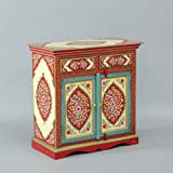 JAE Wooden Handpainted Cabinet for Home | Wooden Storage Cabinet for Living Room | Storage Furniture | 2 Drawer and 2 Door