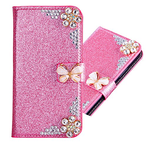 iPhone 6/6S Glitzer Hülle,iPhone 6S/6 Leder Hülle,Hülle Flipcase für iPhone 6/6S with 4,7 Zoll,Cool 3D Butterfly Bling Glitter Diamond...