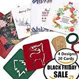 Christmas Cards Set, 20 Cards, 20 Gift Tags, Jute Twines in 2 Colours, 2 Coasters / Stencils, 20 Premium Red Envelopes - 4 Unique Xmas Designs, Best Hand Made Party Decorations, DIY Card Bundle & Holiday Essentials in A Box