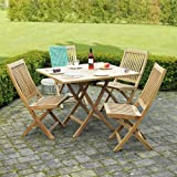 Garden Set - Teak Furniture - Dining Table - 4 Chairs - Outdoor - Folding Square