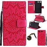 Xperia XZ1Housse, étui à rabat en cuir PU pour Sony Xperia XZ1(5,2pouces) Case Cover Coque de Protection Étui de poche Tournesol