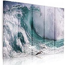 Feeby Frames, Cuadro en lienzo - 5 partes - Cuadro impresión, Cuadro decoración, Canvas (OLA, AZUL, VERDE) 100x150 cm, Tipo C
