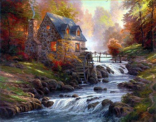 Van Eyck Mountain Stream Scenery Landschaft Prints auf Leinwand Art Wand Bild für Wohnzimmer Home Dekorationen (Innen) -