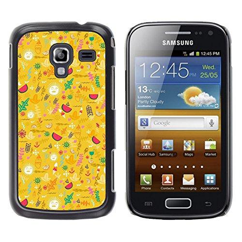 WonderWall Tapete Bunt Bild Handy Hart Schutz hülle Case Cover Schale Etui für Samsung Galaxy Ace 2 I8160 Ace II X S7560M - gelb glücklich optimistisch Muster
