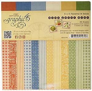 """Graphic45 - Juego de papel para manualidades (15,24 x 15,24 cm, diseño de patrones y texturas sólidas), diseño de """"Home Sweet Home"""""""