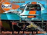 Gulf Prosche 917K Course Voiture le mans Métal/Panneau Mural Métalique - 30 x 40 cm
