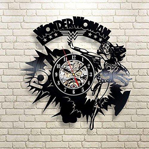 Lozse Pop-Element 3D Datensatz Uhr Superhelden Wunder Frau Kreative Kunst Uhr Persönlichkeit Retro Vinyl Wand Uhr(Größe: 12 Zoll, Farbe: Schwarz)